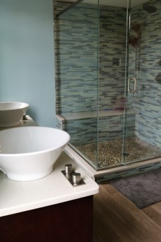 Vessel sinks and gorgeous glass & tile shower