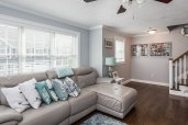 Great sized living room with hardwoods and gas FP